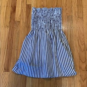 ATM striped strapless sundress with pockets